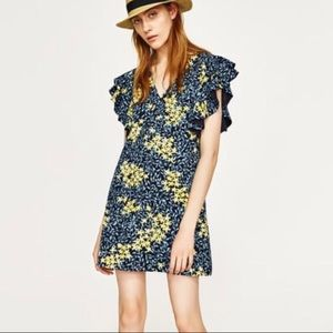Zara Blue and Yellow Floral Ruffle Sleeve Dress